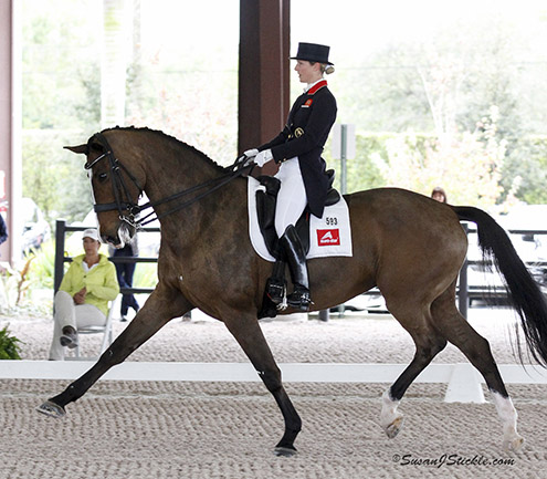 Laura Tomlinson on Unique in the Olympic gold medal rider's first international competition since giving birth to her baby. © 2015 SusanJStickle.com
