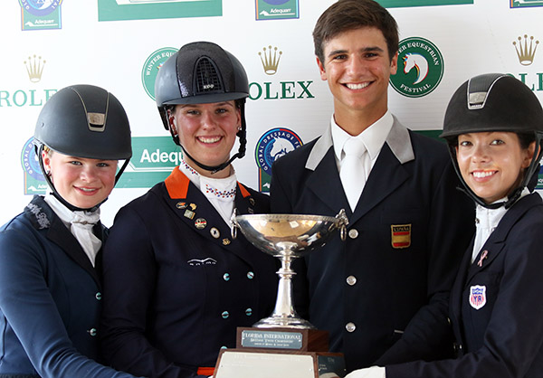 Winners of the Florida International Yuth Chamionship--Amanda McAuliffe, Dana von Lierop, Juan Matute and Chase Hickok. © 2015 Ken Braddick/dressage-news.com
