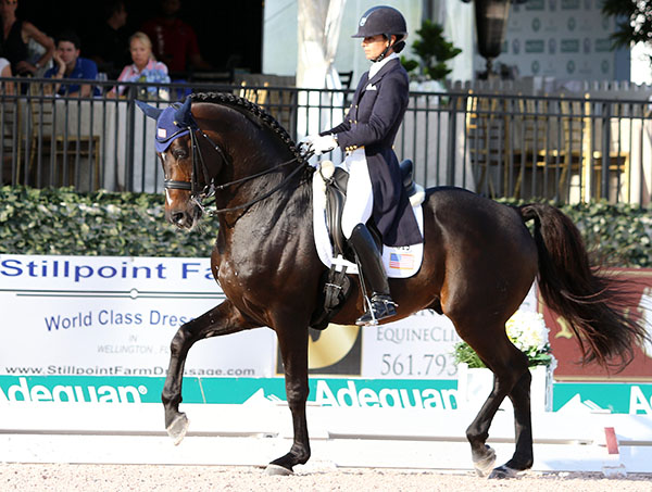 Allison Brock and Rosevelt in the Nations Cup. © 2015 Ken Braddick/dressage-news.com