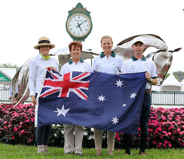 Austraiia-Ilse Schwarz (chef d'equipe) Karin Davis, Kim Gentry and Nicholas Fyffe. ©2015 Ken Braddick/dressage-news.com