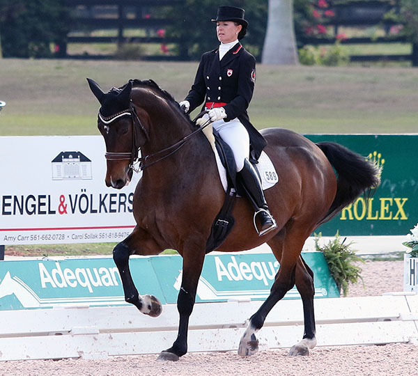 Belinda Trussell on Anton for Canada 1 in the Nations Cup. © 2016 Ken Braddick/dressage-news.com