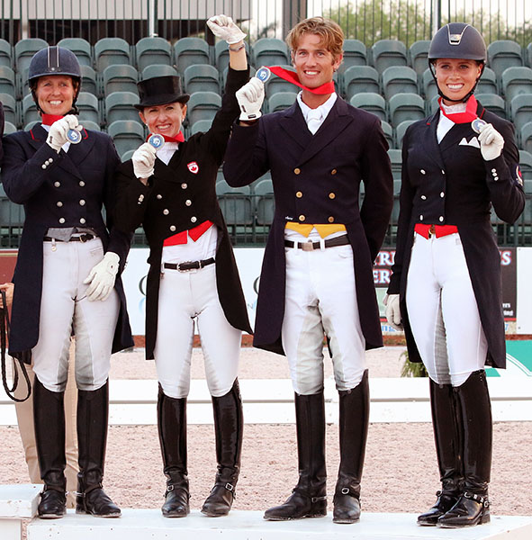 Canada 1 team of Diane Creech, Belinda Trussell, Chris Von Martels and Megan Lane. © 2015 Ken Braddick/dressage-news.com