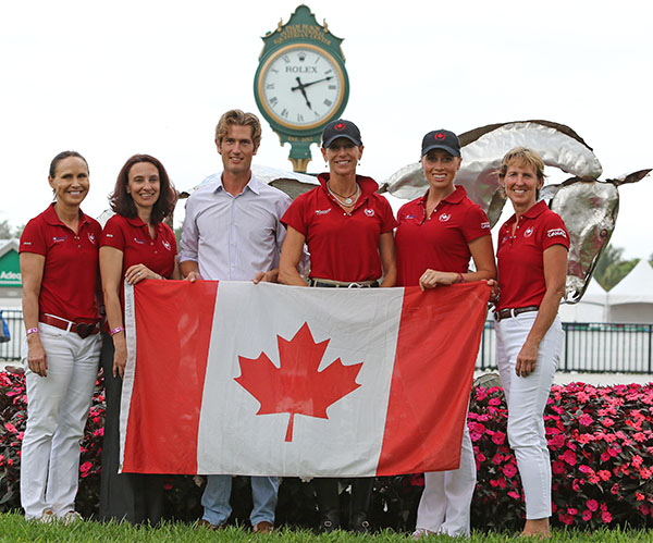 Riders for the two Canadian team Jill Irving, Chris von Martels, Shannon Dueck, Megan Lane and Diane Creech (other riders did not show up for the mandatory photo session). © 2015 Ken Braddick/dressage-news.com