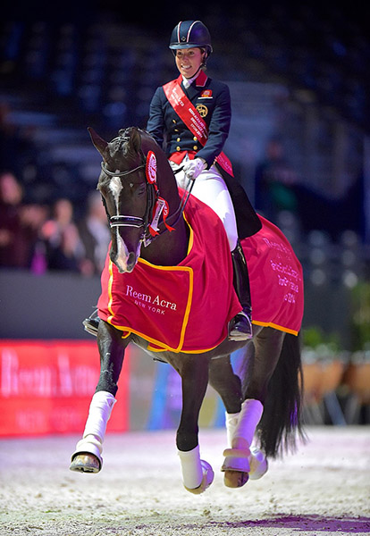 Charlotte Dujardin on Valegro who will compete in Las Vegas next month to defend the World Cup the pair won in 2014. © 2015 Arnd Bronkhorst/FEI