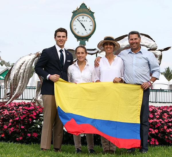 Marco Bernal; , Jr. Maria Aponte, Carmen Franco (chef d'equipe) and Marco Bernal for Colombia. © 2015 Ken Braddick/dressage-news.com