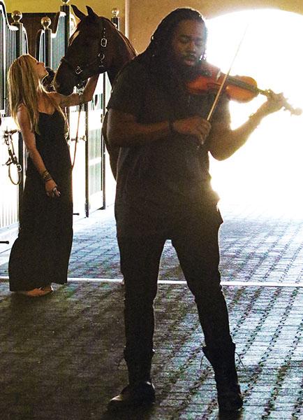 D Sharp performing with Caroline Roffman at the dressage rider's Wellington barn. © 2015 Ken Braddick/dressage-news.com