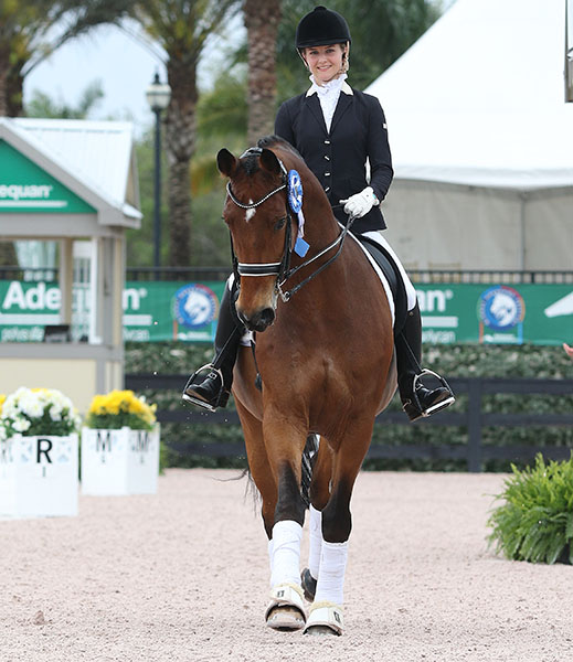 Felicitas Hendricks of Germany riding Faible AS in a victory round in Florida. © 2015 Ken Braddick/dressage-news.com