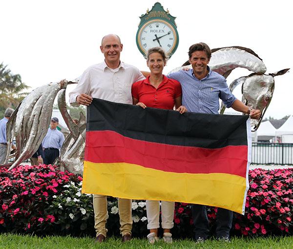 Germany's Michael Klimke, Patricia Koschel and Christoph Koschel (one German rider did not show up for the team photo). © 2015 Ken Braddick/dressage-news.com