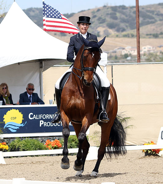 Kathleen Raine and Breanna in the California Dreaming World Cup Freestyle. © 201`5 Ken Braddick/dressage-news.com