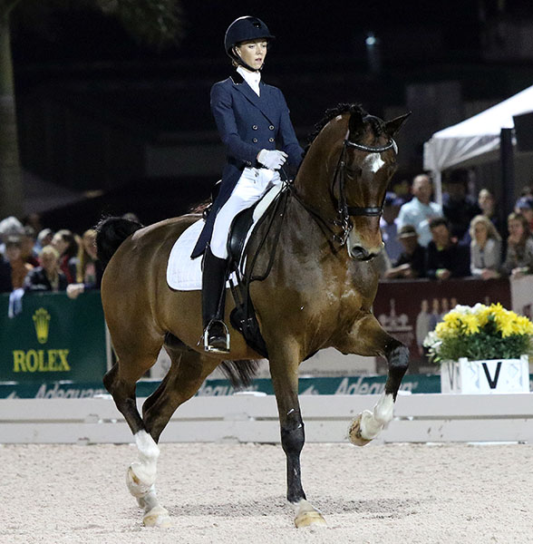 Laura Graves on Verdades in their first Grand Prix level victory. © 2015 Ken Braddick/dressage-news.com