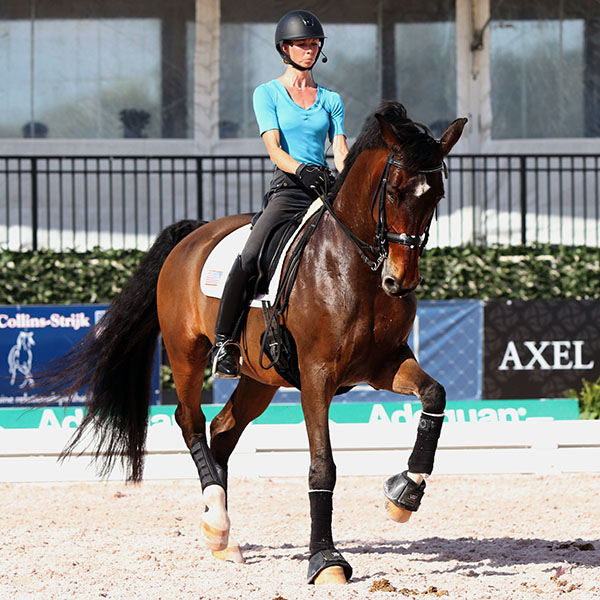 Laura Graves and Verdades in final tuneup coaching from Debbie McDonald before the U.S. team pair compete in the Adequan Global Dressage Festival World Cup Grand Prix Thursday in their first competition since the World Games six months ago. © 2015 Ken Braddick/dressage-news.com