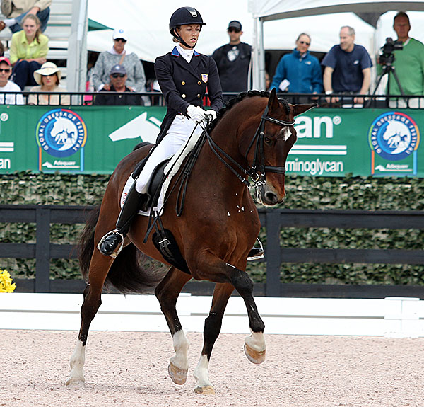 Verdades being ridden by Laura Graves in the Nations Cup Grand Prix Freestyle. © 2015 Ken Braddick/dressage-news.com