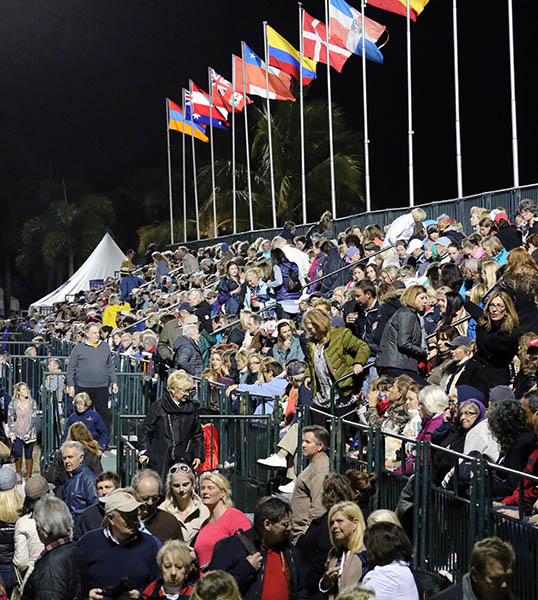 Packed spectator stands during Friday night Freestyle competition at the Adequan Global Dressage Festival. © 2015 Ken Braddick/dressage-news.com