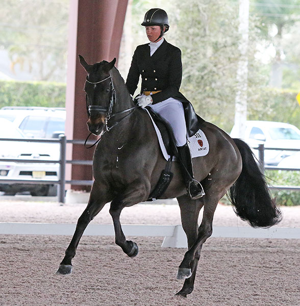 Silva Martin riding Rosa Cha W at this year's Adequan Global Dressage Festival in Wellington, Florida. © 2015 Ken Braddick/dressage-news.com