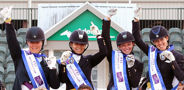USA 1 team of Kimberly Herslow, Allison Brock, Laura Graves and Olivia LaGoy-Weltz. © 2015 Ken Braddick/dressage-news.com
