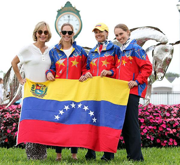 Venezuela's team of Irina Muro, Patricia Ferrando and Irina Moleiro De Muro.  2015 Ken Braddick/dressage-news.com