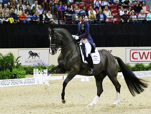 Charlotte Dujardin and Valegro in the Grand Prix at the World Cup Final. © 2015 Ken Braddick/dressage-news