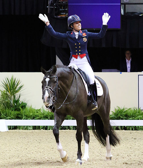 Charlotte Dujardin and Valegro enjoying the cheering from the crowd after the pair's winning ride in the World Cup Grand Prix. © 2015 Ken Braddick/dressage-news.com