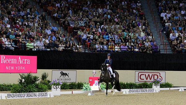 Charlotte Dujardin and Valegro totally in command producing a close to flawless performance for a near world record score in the World Cup Final Freestyle that both silenced and brought to cheers almost 11,000 spectators in Las Vegas. © 2015 Ken Braddick/dressage-news.com