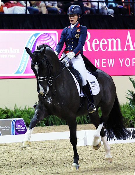 Valegro ridden by Charlotte Dujardin performing extended trot at the World Cup Final Freestyle. © 2015 Ken Braddick/dressage-news.com