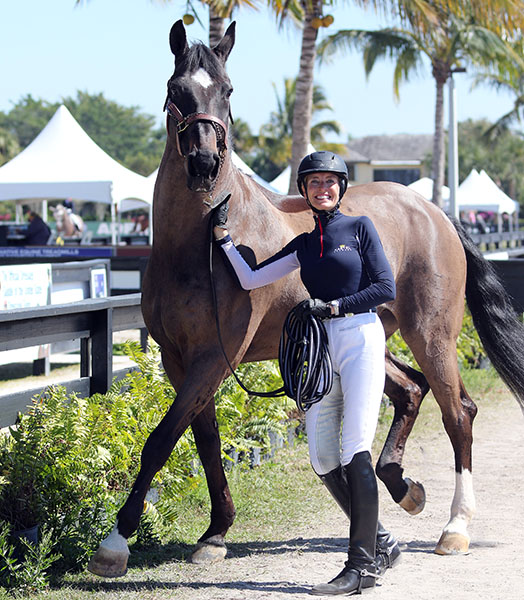Charlotte Jorst with Akeem Foldager that she bought this winter from Andreas Helgstrand who competed the horse for Denmark at the World Games. She won't disclose the price but it was believed to be in the vicinity of $2 million. © 2015 Ken Braddick/dressage-news.com