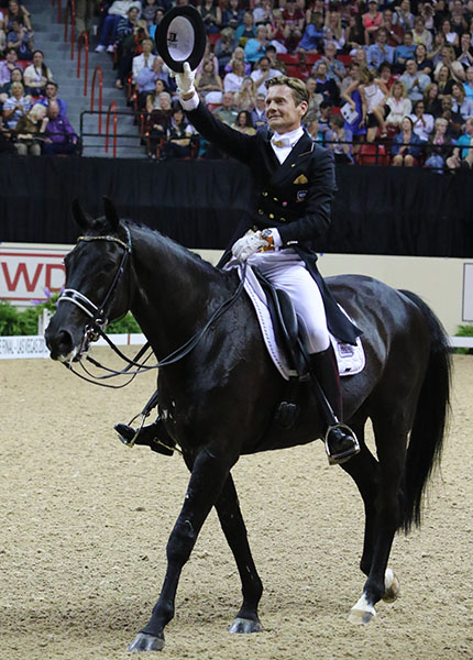 Edward Gal on Glock's Undercover, runnerup and the rider one of the most popular on the international circuit who enlivens news conferences with his wit and humor (a Carl Hester/Edward Gal comedy act? Charlotte Dujardin has a great sense of humor and repartee so could make up a Three Stooges act). © 2015 Ken Braddick/dressage-news.com