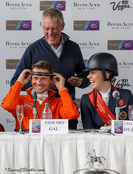 Edward Gal having fun with 80 per cent club browband presented to him, Charlotte Dujardin and Carl Hester at the World Cup Final in Las Vegas. Kenneth Braddick, editor of dressage-news.com that created the award, made the presentation. © 2015 SusanJStickle.com
