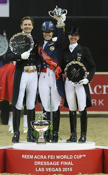 The lineup of two women to every male on the medals podium at the 2015 World Cup Final is representative of Olympic participation for most of the past half century. © 2015 Ken Braddick/dressage-news.com