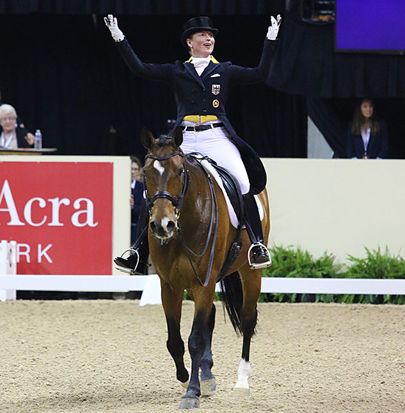Isabell Werth, the most decorated rider in history, celebfrating her participstion on El Santo NRW at the Thomas & Mack Center where she won her second title, on Warum Nicht NRW in 2007. Isabell has produced a succession of horses over the past three decades that keep her in the top tier of the world rankings.  © 2015 Ken Braddick/dressage-news.com