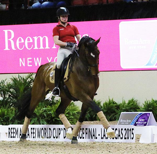Isabell Werth, who won the title in Las Vegas in 2007, riding El Santo NRW. © 2015 Ken Braddick/dressage-news.com