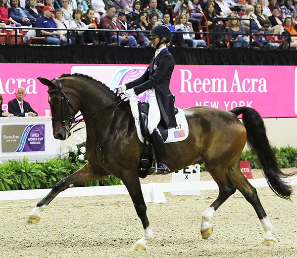 Laura Graves and Verdades in the World Cup Grand Prix, the first ever indoor competition for the pair. © 2015 Ken Braddick/dressage-news.com