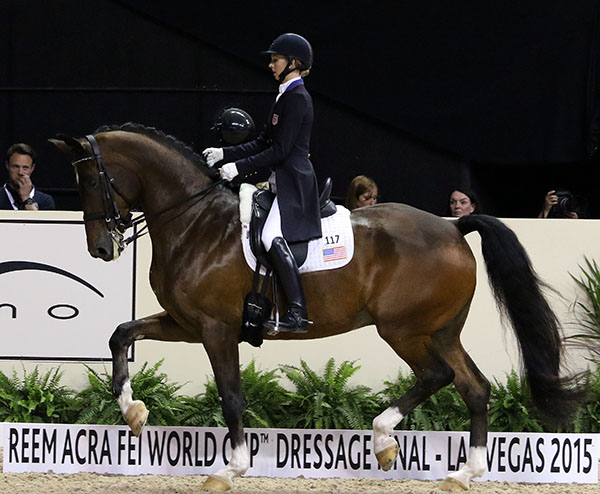 Laura Graves and Verdades in the World Cup Freestyle. © 2015 Ken Braddick/dressage-news.com