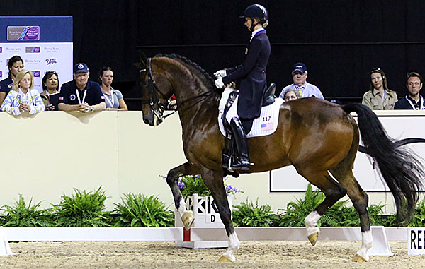 Laura Graves on Verdades with personal coah Debbie McDonald riding every step of the Freestyle at the World Cup Final. © 2015 Ken Braddick/dressage-news.com