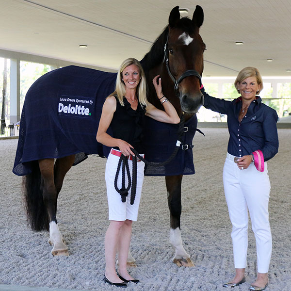 Laura Graves with Verdades and Judy Sloan of Deloitte. © 2015 Ken Braddick/dressage-news.com