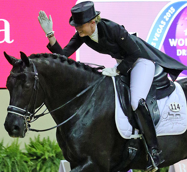Morgan_Barbançon_Mestre,the youngest rider at age 22, on Painted Black, the oldest horse at 18 years, a partnership that works. © 2015 Ken Braddick/dressage-news.com