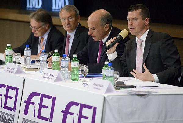 IOC Sports Director Kit McConnell with the chairmen of FEI Olympic disciplines (from left): Frank Kemperman (dressage); Giuseppe Della Chiesa (eventing) and John Madden (jumping) at the FEI Sports Forum. © FEI/Germain Arias-Schreiber
