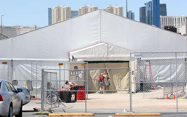 The quarantine tent at the Thomas & Mack Center, venue for the World Cup Finals of dressage and jumping. © 2015 Ken Braddick/dressage-news.com