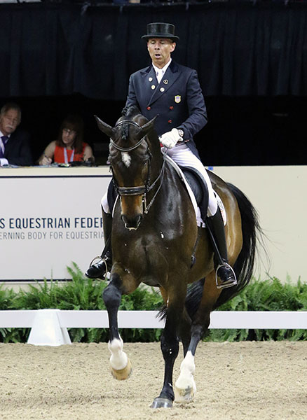Steffen Peters riding Legolas in the Freestyle that brought a standing ovation from the crowd of almost 11,000 and cheering and clapping that was so exuberant it spooked the horse, © 2015 Ken Braddick/dressage-news.com