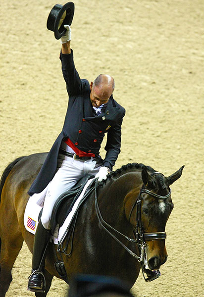 An ecstatic Steffen Peters on Legolas at the end of their World Cup Grand Prix ride. © 2015 Ilse Schwarz/dressage-news.com