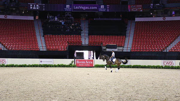 Steffen Peters riding Rosamunde in the Thomas & Mack Center that will be filled with 12,000 fans for the competition. © 2015 Ken Braddick/dressage-news.com