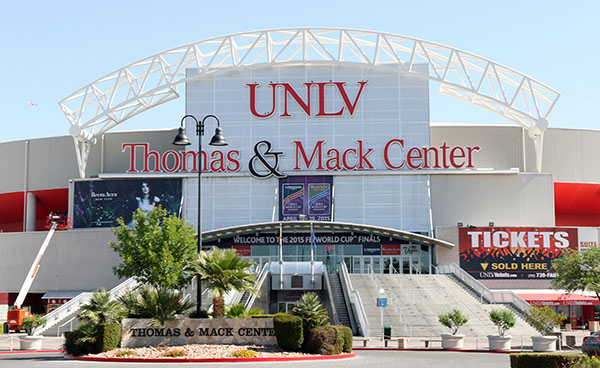 Final touches being put on the Thomas & Mack Center for the World Cup Finals of dressage and jumping next week. © 2015 Ken Braddick/dressage-news.com