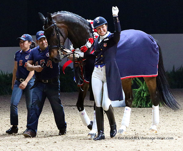 Wizard with rider Adrienne Lye and grooms Taylor Yamamoto (at the 2014 World Games) and Ruben Palomera (2012 Olympic Games) in retirement ceremony last month. © 2015 Ken Braddick/dressage-news.com