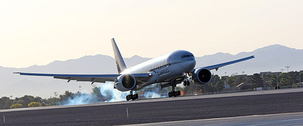 Touchdown in Las Vegas of the Qatar Boeing 777 bringing 40 top dressage and jumping horses for the World Cup Finals. © 2015 Ken Braddick/dressage-news.com