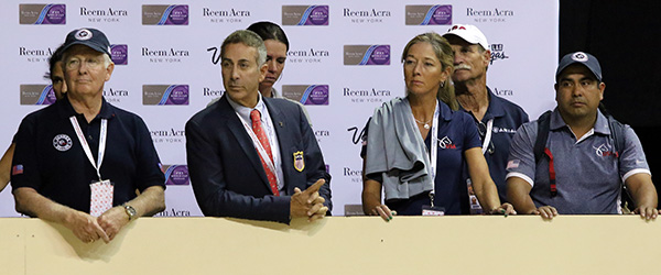 The U.S. entourage watching Steffen Peters and Legolas including Robert Dover and Shannon Peters. © 2015 Ken Braddick/dressage-news.com