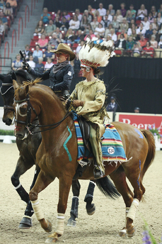 Mette Rosencrantz as a gun toting cowboy and Anna Dahlberg as the determined Indian ©Ilse Schwarz/dressage-news.com