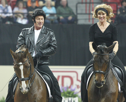 The grease themed Pas de Deux performed by Jan Ebeling as John Travolta and Charlotte Bredahl-Bakeras Olivia Newton John brought the house down and won the informal competition ©Ilse Schwarz/dressage-news.com