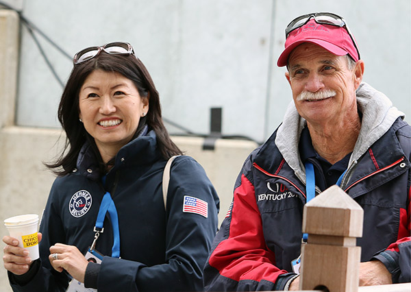 A happy Akiko Yamazaki with Tom Meyers, the equine pysiotherapist, after the performance by Steffen Peters on her Legolas. © 2015 Ken Braddick/dressage-news.com