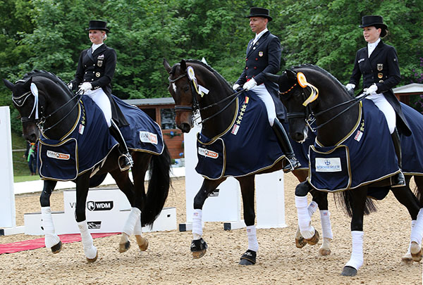 Victory gallop by (left to right) Jessica von Bredow-Werndl on Unee BB, Steffen Peters on Legolas and Krsitina Sprehe on Desperados. © 2015 Ken Braddick/dressage-news.com