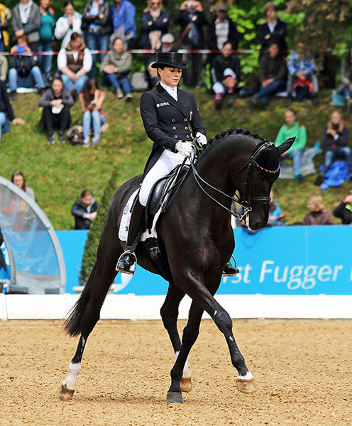 Kristina Sprehe on Desperados in the CDI5* Grand Prix Freestyle at Munich. © 2015 Ken Braddick/dressage-news.com