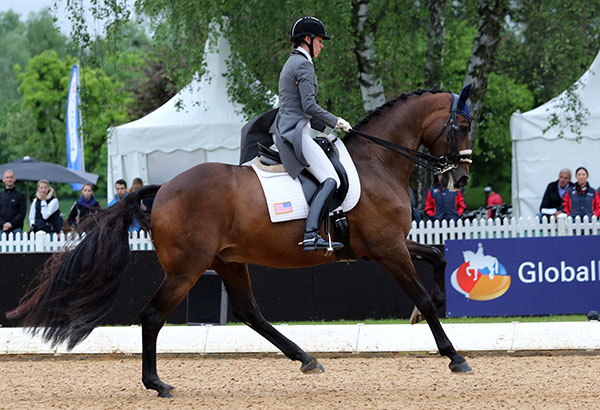 Olivia LaGoy-Weltz and Lonoir performing in the Munich Intermediate 1. © 2015 Ken Braddick/dressage-news.com